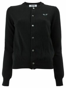 Comme Des Garçons Play button front cropped cardigan - Black