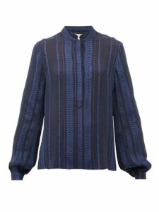 Zeus + Dione - Hera Silk-blend Crepe Blouse - Womens - Navy