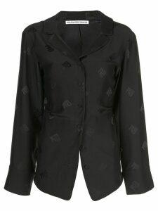 Alexander Wang logo embroidered blouse - Black