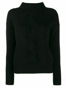 D.Exterior cable knit detail jumper - Black