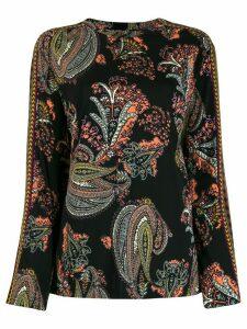Etro long sleeved paisley print blouse - Black