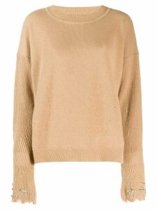 Pinko embellished sleeve jumper - Brown