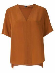 Osklen V neck silk blouse - Brown
