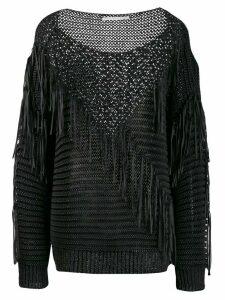 Stella McCartney fringed knit mix sweater - Black