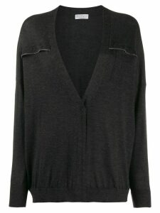 Brunello Cucinelli relaxed-fit brass-embellished cardigan - Grey
