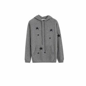Chinti & Parker Grey Cashmere Star Hoodie