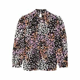 Veronica Beard Hayden Leopard-print Silk-blend Blouse