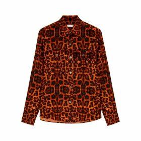 Dries Van Noten Caffy Leopard-print Satin Blouse