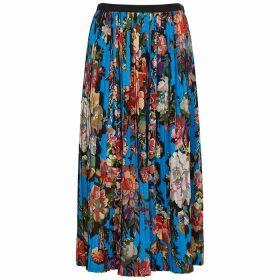 Dries Van Noten Saram Blue Floral-print Midi Skirt