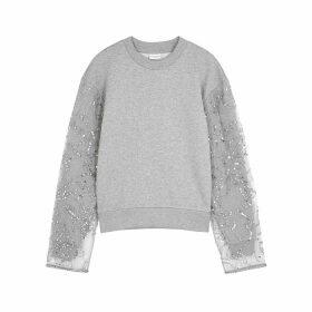 Dries Van Noten Herosi Grey Embellished Jersey Sweatshirt