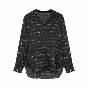 EILEEN FISHER Black Printed Silk-blend Blouse