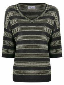 Brunello Cucinelli knitted striped pattern top - Black