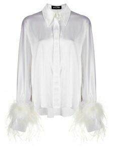 Styland long sleeve feather cuff silk shirt - White