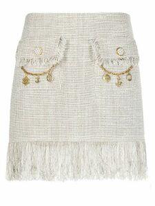 Elisabetta Franchi fringed tweed skirt - NEUTRALS