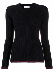 Thom Browne stripe detail slim fit jumper - Blue