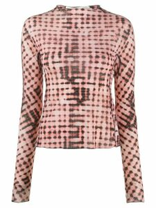 Charlotte Knowles checked long-sleeve fitted top - PINK