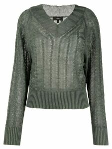Theory cable knit V-neck jumper - Green