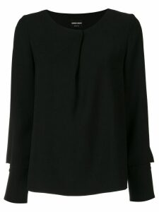 Giorgio Armani pleated long-sleeve blouse - Black