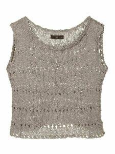 Voz open knit crop top - Grey