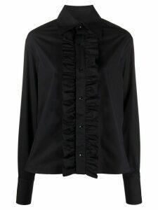 Saint Laurent ruffled-detail long-sleeved shirt - Blue