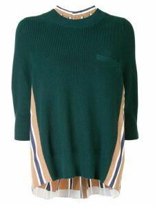 Sacai contrast panel jumper - Green