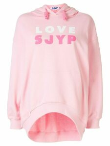 SJYP love logo print hoodie - PINK
