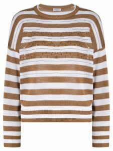 Brunello Cucinelli sequin embroidered striped jumper - Brown