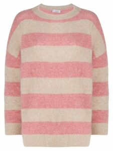 Brunello Cucinelli boxy fit striped jumper - NEUTRALS