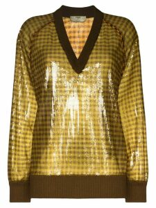 Fendi sequinned check jumper - Brown