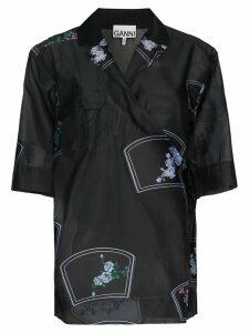 GANNI floral-print sheer blouse - Black