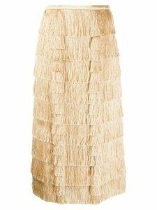 Marco De Vincenzo layered fringe skirt - NEUTRALS