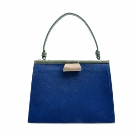 OSTWALD Finest Couture Bags - Turtle Edge Small In Royal-Blue Salvia-Green & Grey