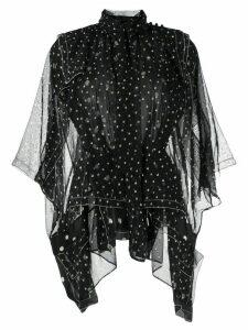Sacai asymmetric hem polka dot print blouse - Black