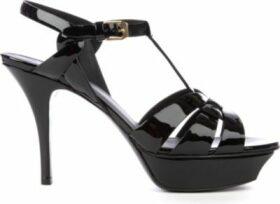 Saint Laurent Tribute 75 patent-leather heeled sandals, Women's, Size: EUR 40 / 7 UK WOMEN, Black